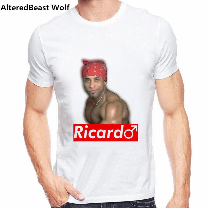 Ricardo Milos red logo new summer 2019 men fashion printed t-shirt Harajuku streetwear cartoon casual loose o neck men funny tee
