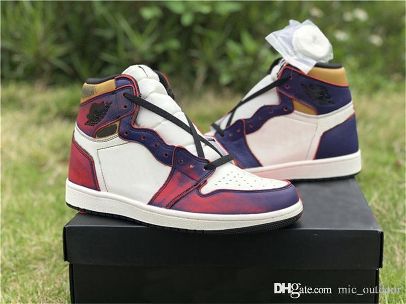 d853c10517 2019 Hottest SB x 1 Retro High OG Court Purple Gold Defiant Lakers 1S Men  Basketball Shoes Authentic Sports Sneakers CD6578-507