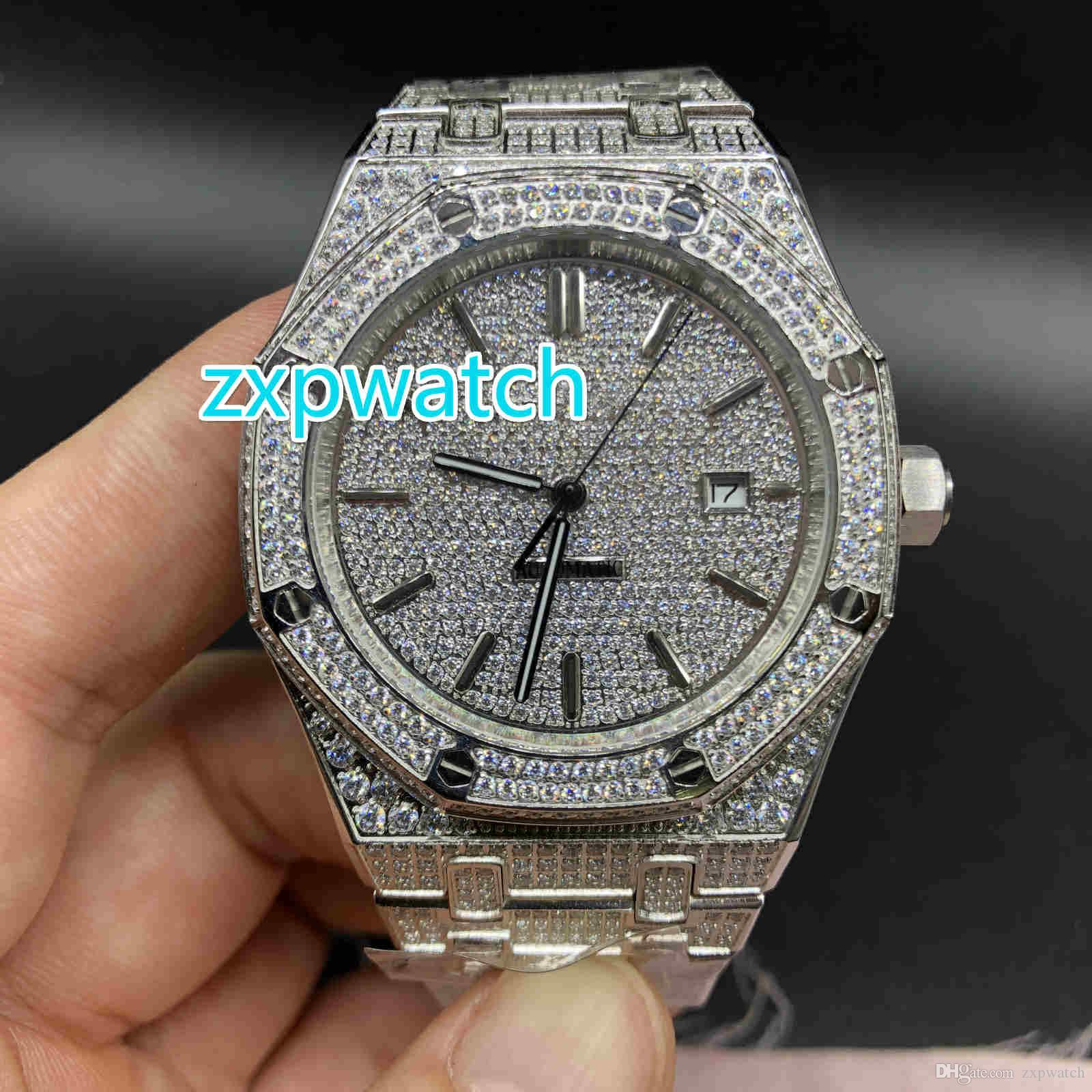Full Iced Out Royal Watches High Quality Men S Luxury Watches Silver Full Diamond Straps Top Automatic Mechanical Movement Watches