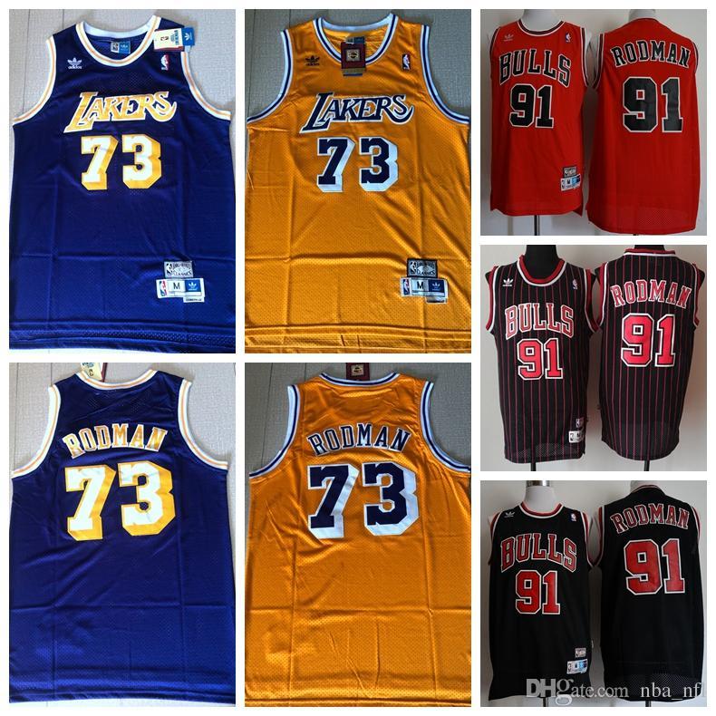 save off 836df 12782 Mens Laker 73 Dennis Rodman Retro Authentic Swingman Jersey Bulls 93 Dennis  Rodman Dense Embroidery Mesh Retro Basketball Jersey Stitched