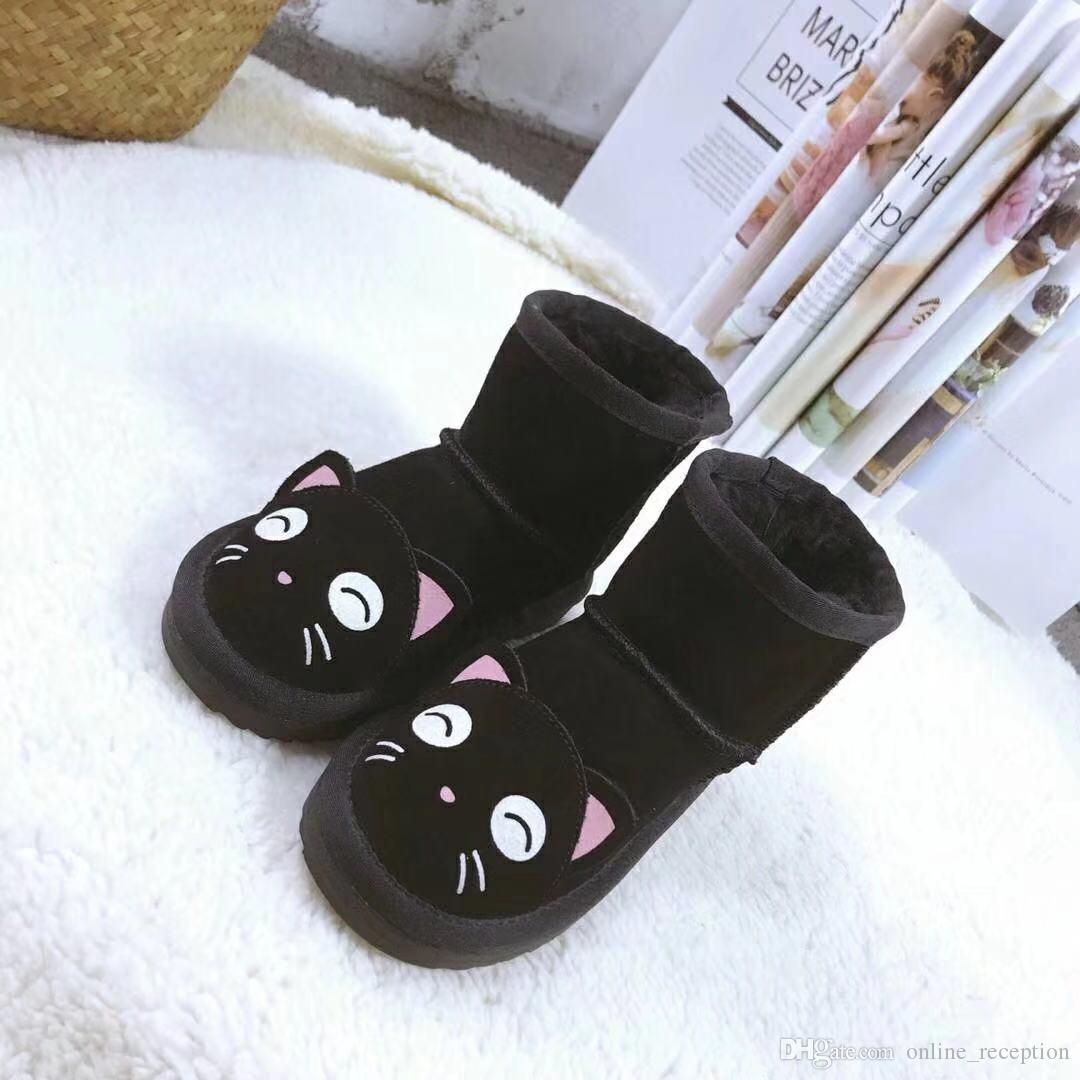 Girls Australia Style WGG Kids Snow Boots Cute Bow Back Waterproof Slip-on Children Winter Cow Leather Boots 3280 Brand luxury Wgg designer