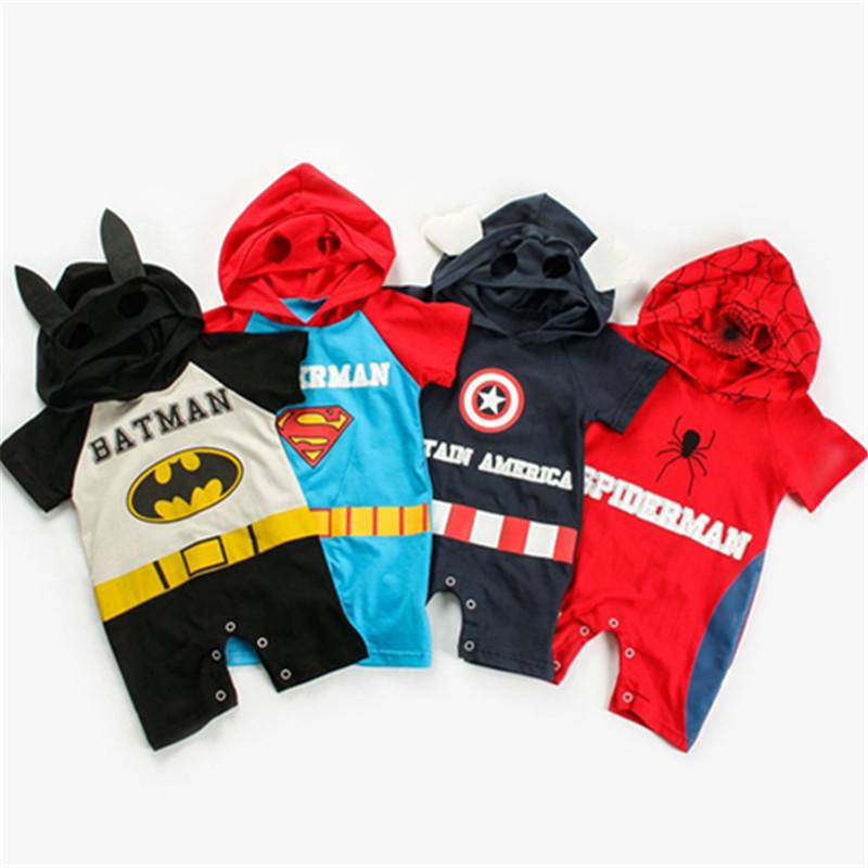 Baby Boy Girl Avenger 4 Rompers Cartoon Superman Spiderman Captain America Jumpsuit Short Sleeve Hooded Romper Cosplay Clothing Jumpsuits