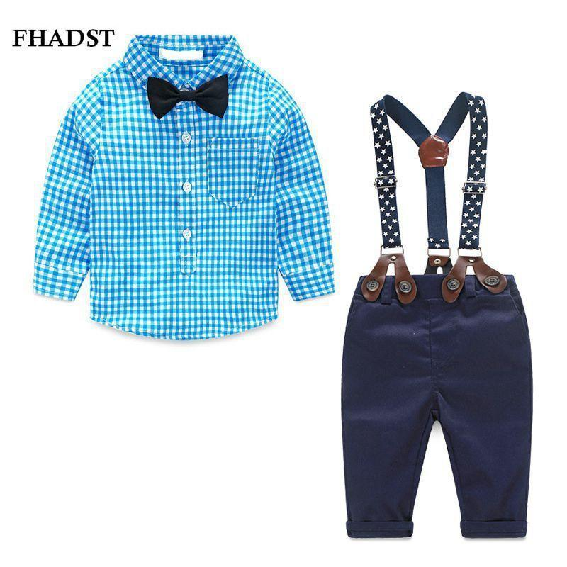 2019 Fashion Kids Clothes Grid Shirt + Suspender Newborn Long Sleeve Baby Boy Clothes Bowknot Gentleman Suit Turn-down Collar Y19061303