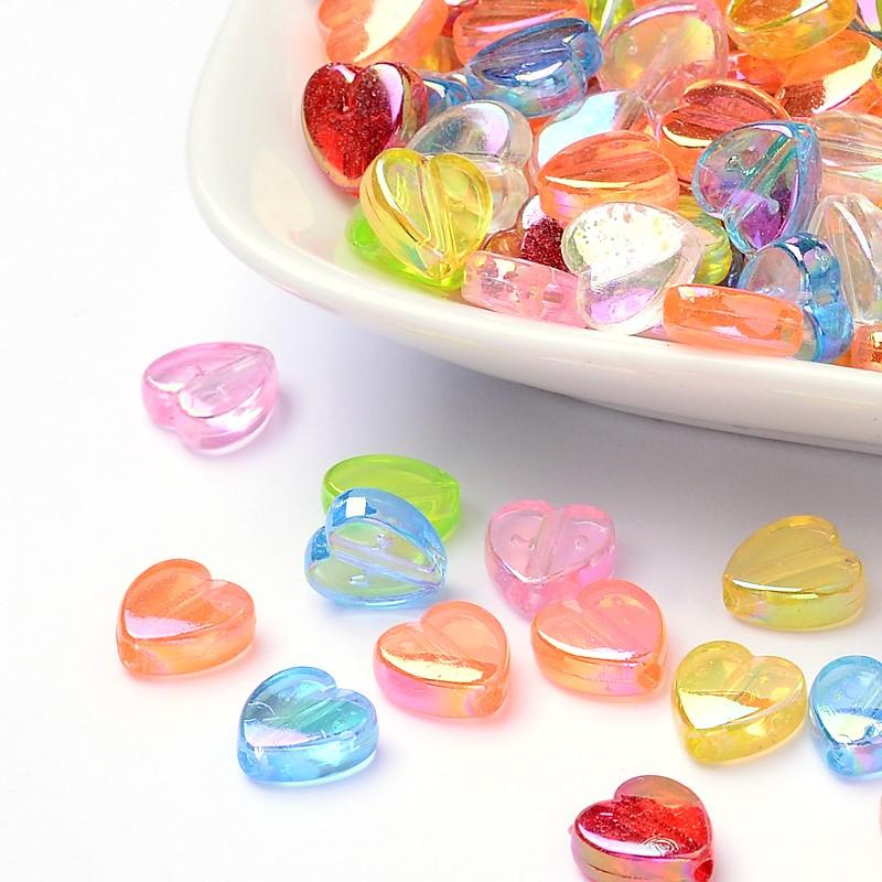 8x8x3mm Environmental Transparent Acrylic Beads, Heart, Dyed, AB Color, Mixed Color, Hole: 1.5mm; 2800pcs/500g