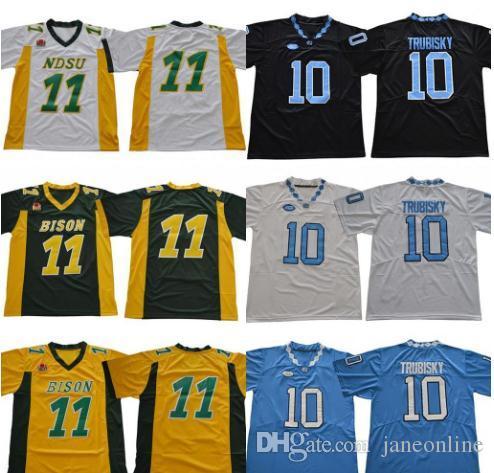 wholesale dealer 7b006 83042 NDSU Bison College Carson Wentz Jersey Men North Carolina Tar Heels  Football 10 Mitchell Trubisky Jerseys 2019 UNC Black Blue White Green