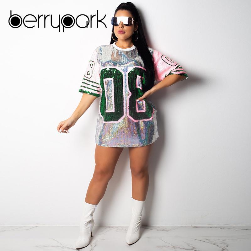 BerryPark 08 Sport Long T Shirt Loose Sequin Dress 2019 NEW Summer Women  Half Sleeve Plus Size Fitness Tennis Dress Dropshipping