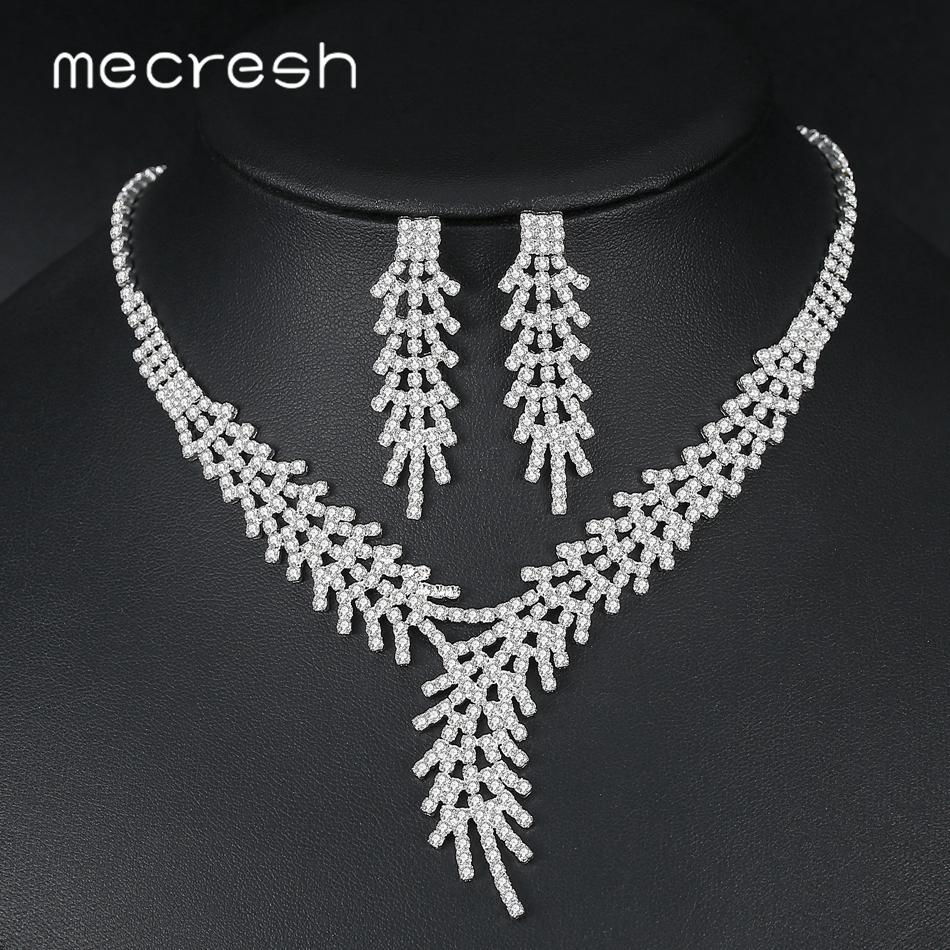 Mecresh Leaf Branch Crystal Bridal Jewelry Sets for Women Silver Color Rhinestone Bridal Necklace and Earring Sets Jewelry TL550