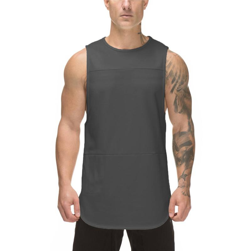 Brand Mens tank tops shirt Solid Patchwork mesh bodybuilding stringer tanktop fitness singlet Sleeveless tank gyms clothing