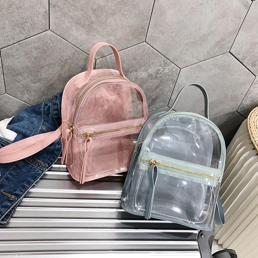 7249e10605 Mini Jelly Transparent Backpack Female Clear Rucksack Women Solid Color  Travel Bag Girls School Bags Summer Shoulder Bag Fashion Osprey Backpacks  Book Bags ...