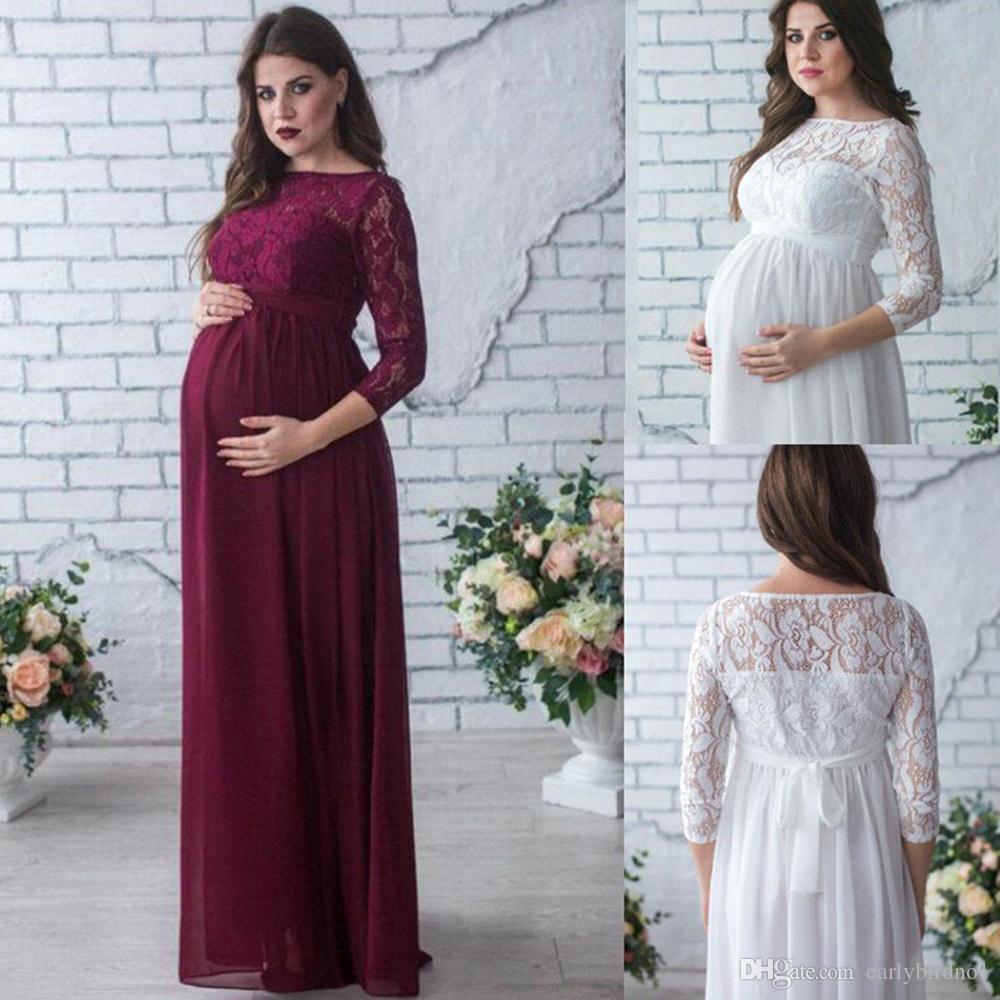f9121ef17 Compre Elegantes Vestidos Largos De Maternidad Con Mangas 3 4 Peso Ligero  Vestido De Encaje De Gasa Para Mujeres Embarazadas Vestido De Noche De Talla  ...