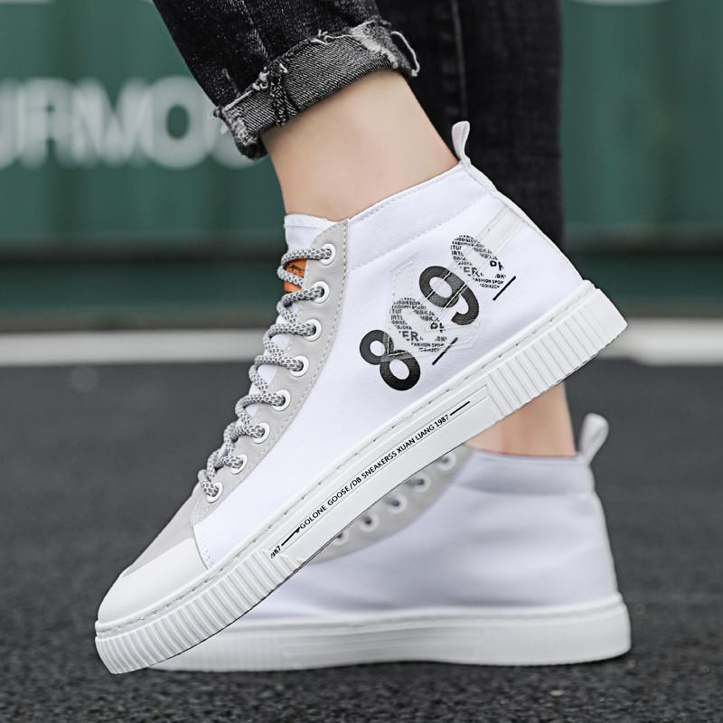 Spring Male Fashion Shoes Casual Men Canvas Sneakers Trend Flats Solid Mens Light Shoes Short Bootie Lace up Wear Resistant Tide