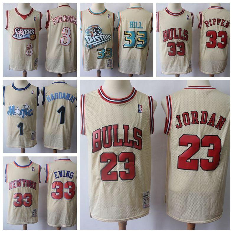 huge selection of d858a 8f647 Vintage 1995/96 Classics Gold Basketball Jerseys Allen Iverson Scottie  Pippen 23 Michael Jodan Patrick Ewing Penny Hardaway Stitched Shirt
