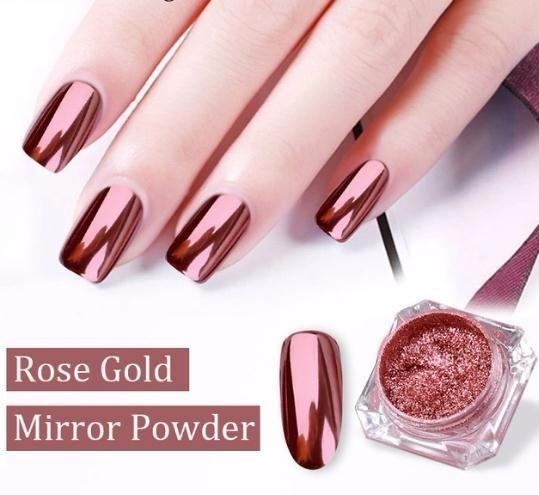 New 0.2g/box Rose Gold Magic Mirror Surface Powder Nail Art Glitters Dust  Shining Pigments Manicure Tool Nails Art Decorations