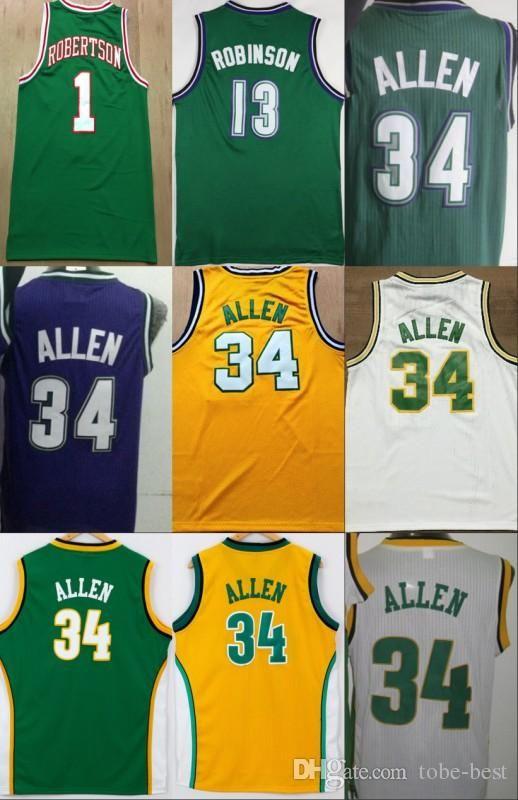 014393f12 ... czech 2019 milwaukee vintage 34 ray allen bucks jersey seattle  supersonics men basketball 13 glenn robinson