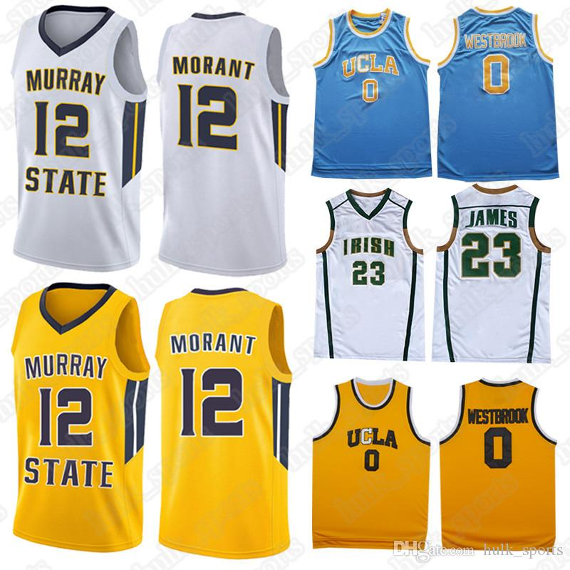 timeless design 0a0cb 3ceb3 NCAA Murray State College jerseys 12 Ja Morant 0 Westbrook jersey 23 LeBron  James jersey 2019 new hot shirt