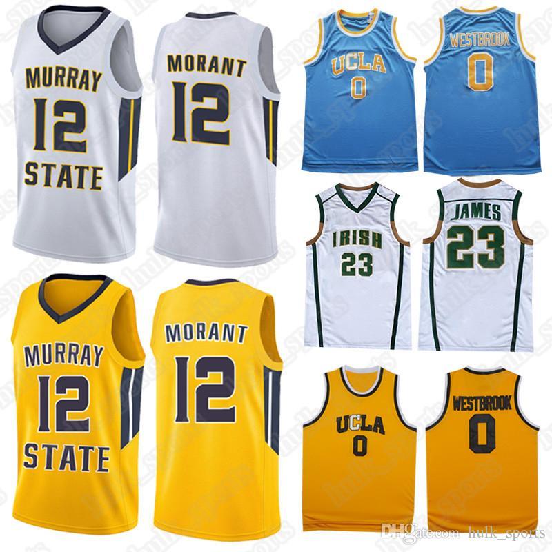 size 40 f043d 1c9d9 NCAA Murray State College-Trikots 12 Ja Morant 0 Westbrook-Trikot 23 LeBron  James-Trikot 2019 neues heißes Hemd
