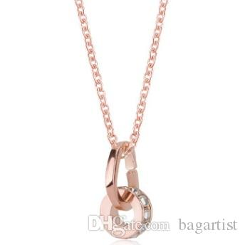 488c16309 Wholesale LUCKY DOUBLE LOOPS LOVE HEART WOMEN COLLARBONE NECKLACE FEATURED  FREE MATCH CZ RHINESTONE PENDANT COLLAR JEWELRY FEMALE LOVER GIFT NECKLACES  Bar ...