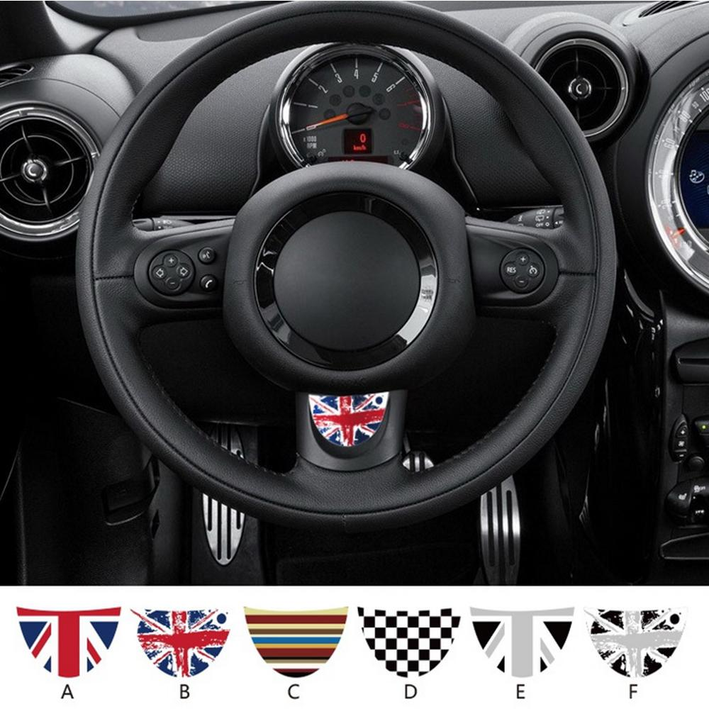1pc Union Jack Car Steering Wheel Adhesive Vinyl Decal Sticker For Mini Coopers Jcw R55 R56 R57 R60 R61 Car Styling Accessories