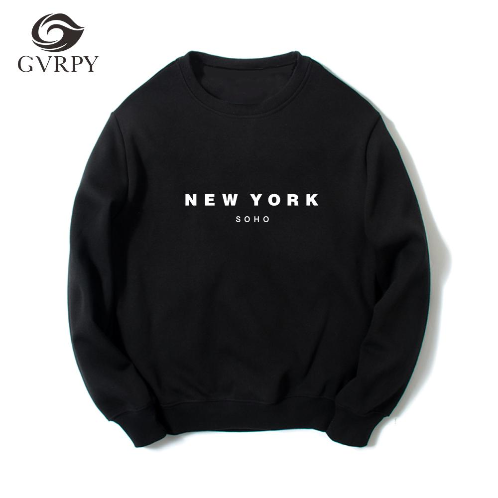 New York Soho Letters Printing Women Men Hoodies Fashion Casual Sweatshirts Female Femme Tops Hipster Black White Gray