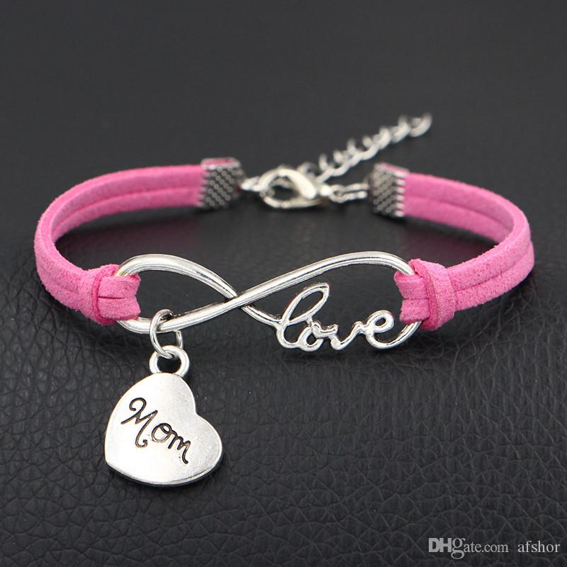 New Hot Pink Leather Suede Bracelet For Women Men Silver Color Infinity Love Mom Heart Charm Bracelets & Bangles Male Female Wedding Jewelry