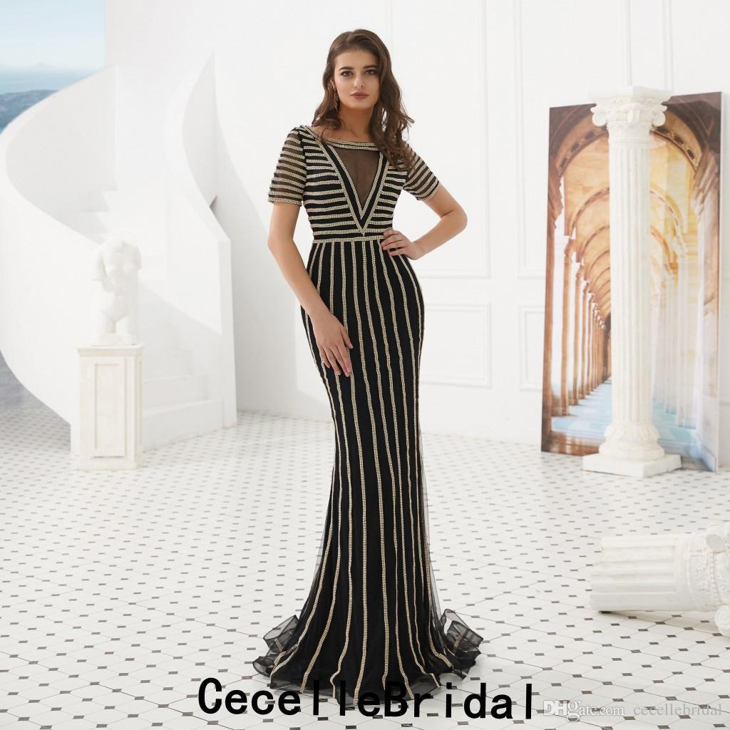 17c3aacbe4b Acheter Noir Or Paillettes Longue Sirène Robes De Soirée 2019 Avec Manches  Courtes Dubaï Femmes Elegant