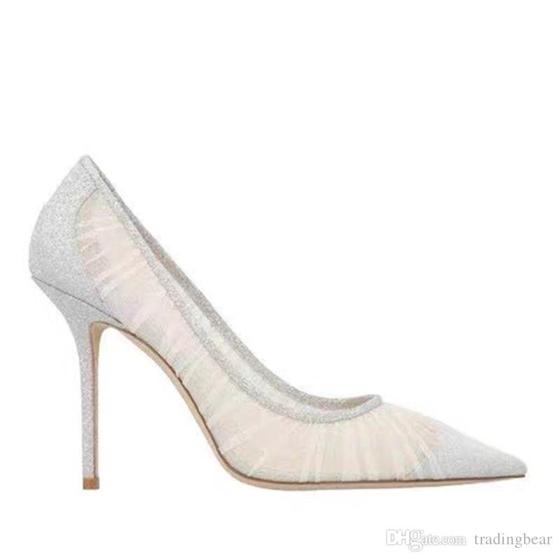 Metallic Silver Glitter Fabric Pumps with Ivory Tulle Overlay Bridal Wedding Shoes Designer Heels eu 34 to 41 tradingbear