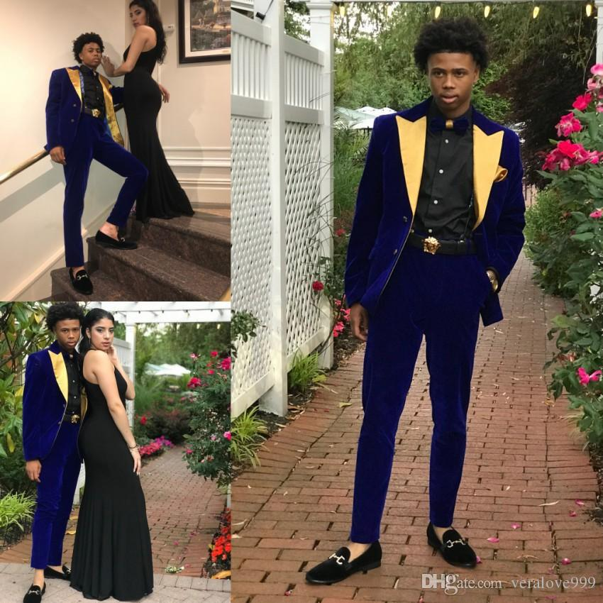 c0a4f6159f 2019 Popular Couple Fashions Blue With Yellow Neck Mens Groom Tuxedos  Groomsmen Bestmen Wedding Suits Custom Made Two Pieces Informal Suit Mens  Suit Sale ...