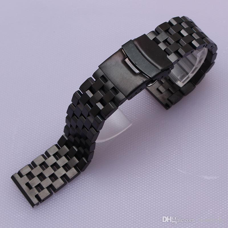 Special Watchband straight ends watch band strap bracelet with safety buckle folding deployment 18mm 20mm 22mm 24mm 26mm silver