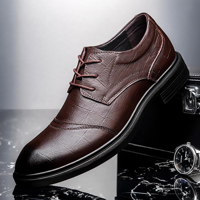 NOUVEAU chaussures plates Casual Business Toe Men Dress hommes chaussures en cuir PU Slip On Fashion Male formelle Oxford Lace Up * 14186
