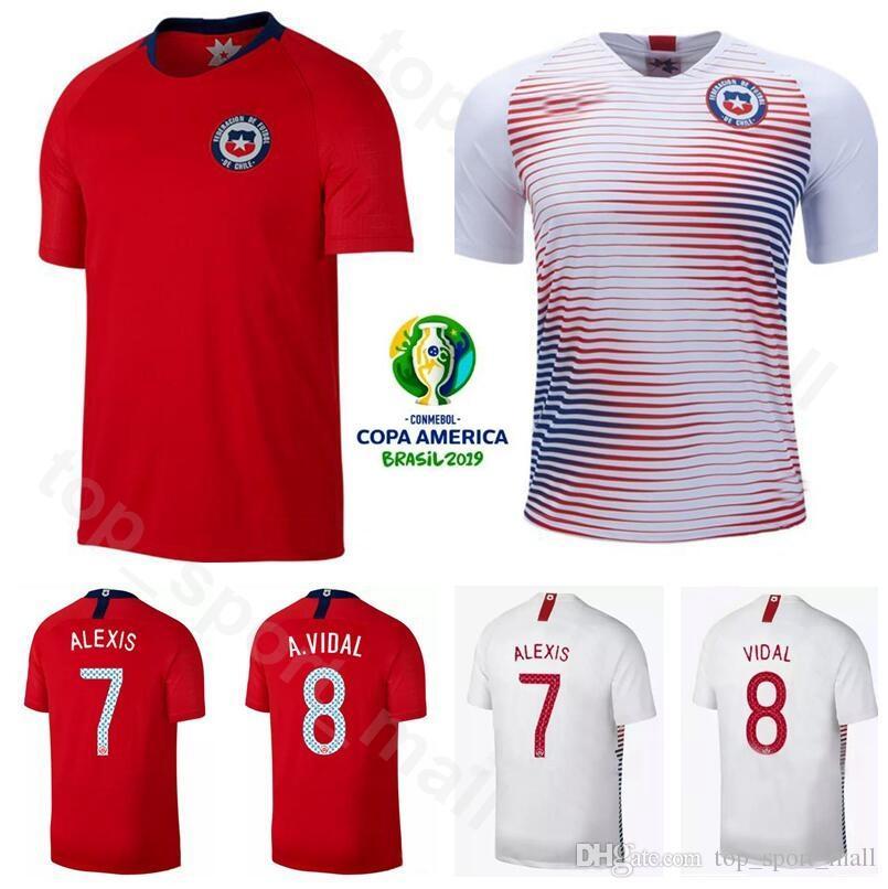 the best attitude 44d0d eb409 2019 Copa América Fútbol Chile Jersey 7 ALEXIS SANCHEZ 8 ARTURO VIDAL 11  EDUARDO VARGAS 17 GARY MEDEL CHARLES ARANGUIZ Kits de camisetas de fútbol