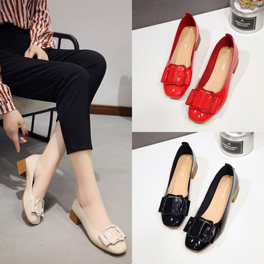bd40492005 Designer Dress Shoes Fashion Woman's Square Heel Casual Round Toe Shallow  Work Ladies Leather Platform Heels Zapatos De Mujer Dropship