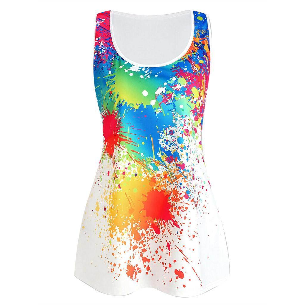 6a22b0596 Camiseta sin mangas de verano Streetwear Tie Dye imprimir camisetas sin  mangas Harajuku Festival Básico Top ropa de mujer 2019