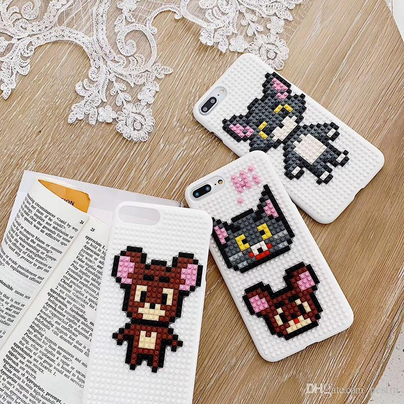 For iphone xs xr phone case Childhood Tom Cat Jerry Mouse Cartoon Building Blocks phone case Support 2PCS delivery