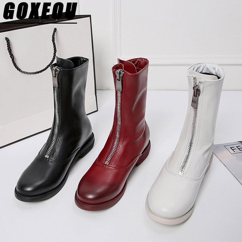fbb673298f9 GOXEOU Womens Winter Boots Fashion Woman Brand Martin Boots Concise Female  Round Toe Elegant Cowboy For Women Casual Shoes