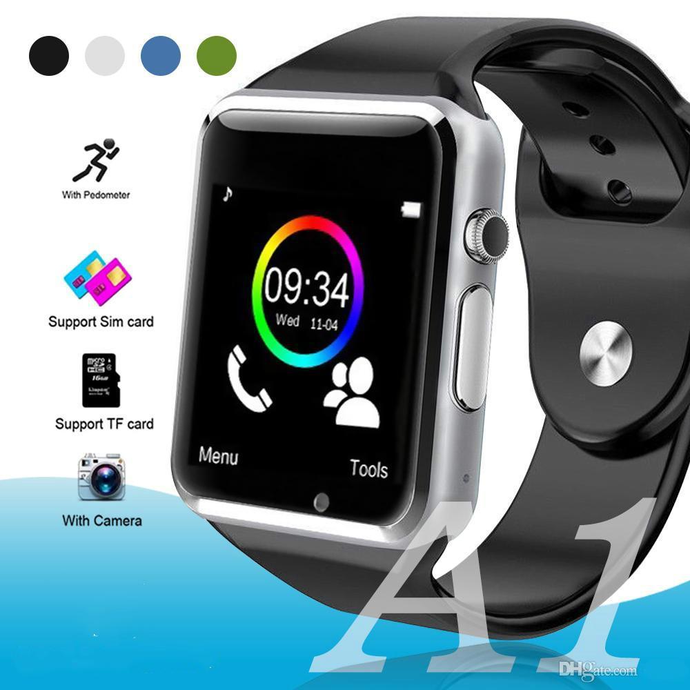 17877c186f6 Compre Venda Por Atacado A1 Inteligente Relógio Bluetooth Touch Screen  Relógio De Pulso Inteligente Esporte Pedômetro Com Relógio Da Câmera SIM  Para Samsung ...