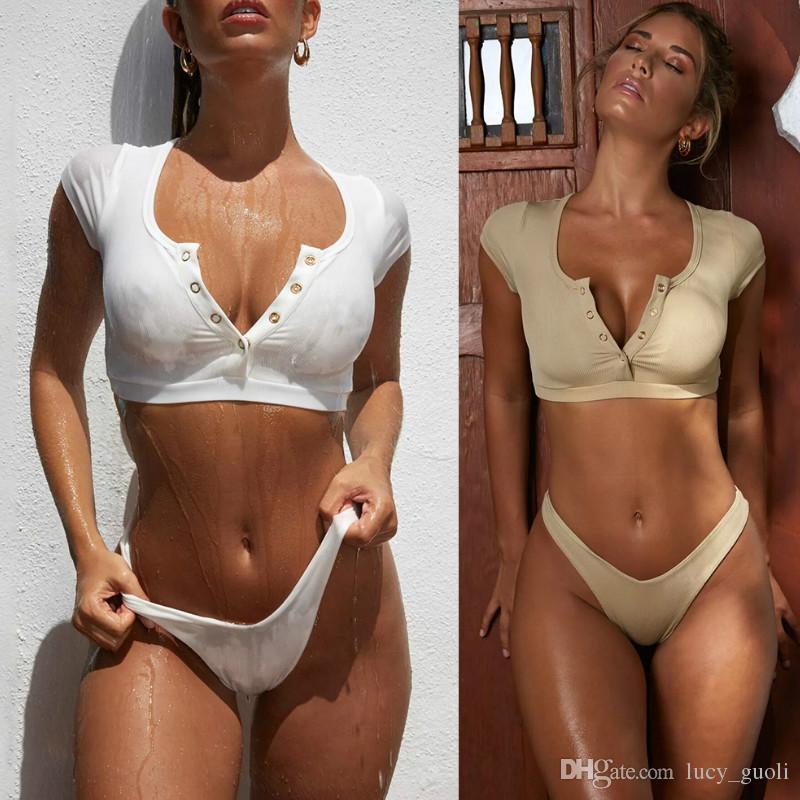 35a86393086 2019 Buckle Thong Bikini Set 2019 Women Swimwear Sexy New Neon Brazilian  Push Up Crop Swimsuit Bathing Suit Swimming Wear Shirt Femme Monokini From  ...