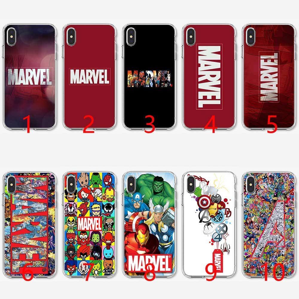 size 40 b1a7c 101e9 Luxury Marvel Comics logo Soft Silicone TPU Phone Case for iPhone 5 5S SE 6  6S 7 8 Plus X XR XS Max Cover