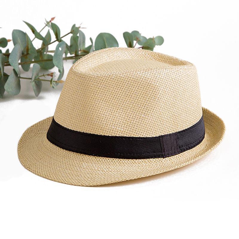 Fashion Summer Straw Women Mens Sun Hat Cap Summer Beach Gangster Cap Hat Travel Jazz Caps Sun hat