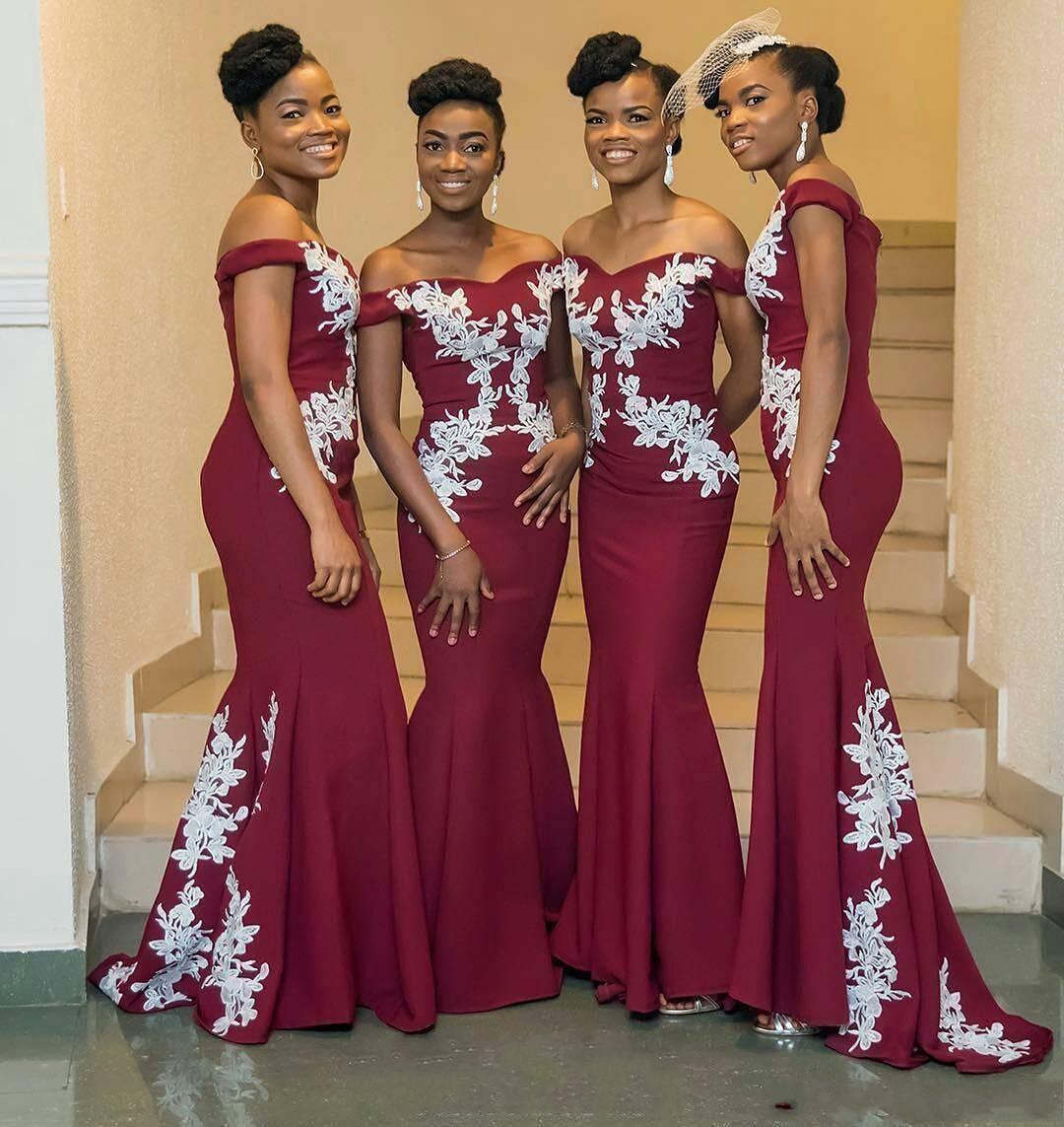 78cea68b0c8a 2018 Black Girls Dark Red Mermaid Bridesmaid Dresses Nigerian Off Shoulder  White Appliques Satin Long Wedding Party Dresses Sweep Train Grey  Bridesmaid ...