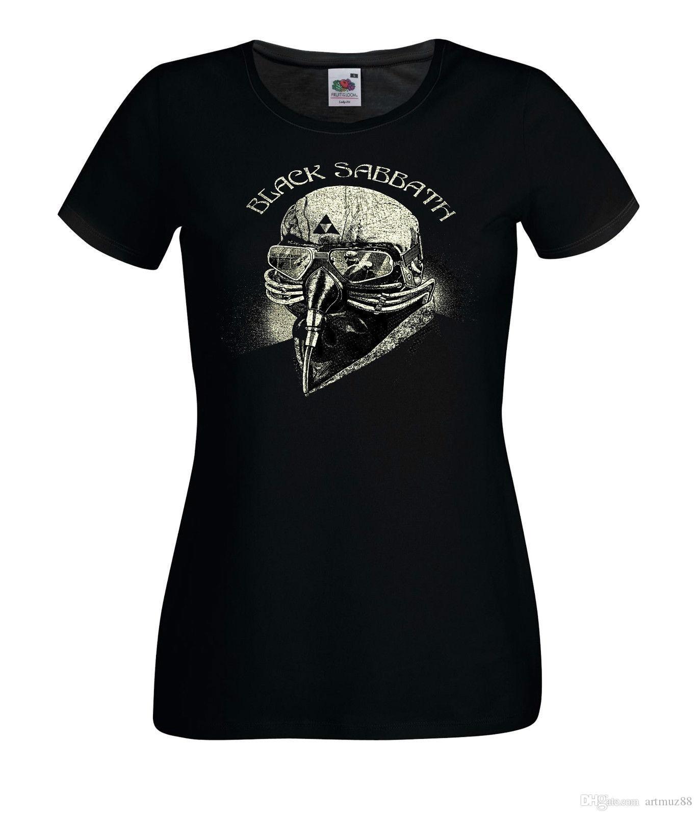 DAMEN WOMEN LADY BLACK T-SHIRT BLACK SABBATH 2 HEAVY METAL ROCK LANGARM//KURZARM