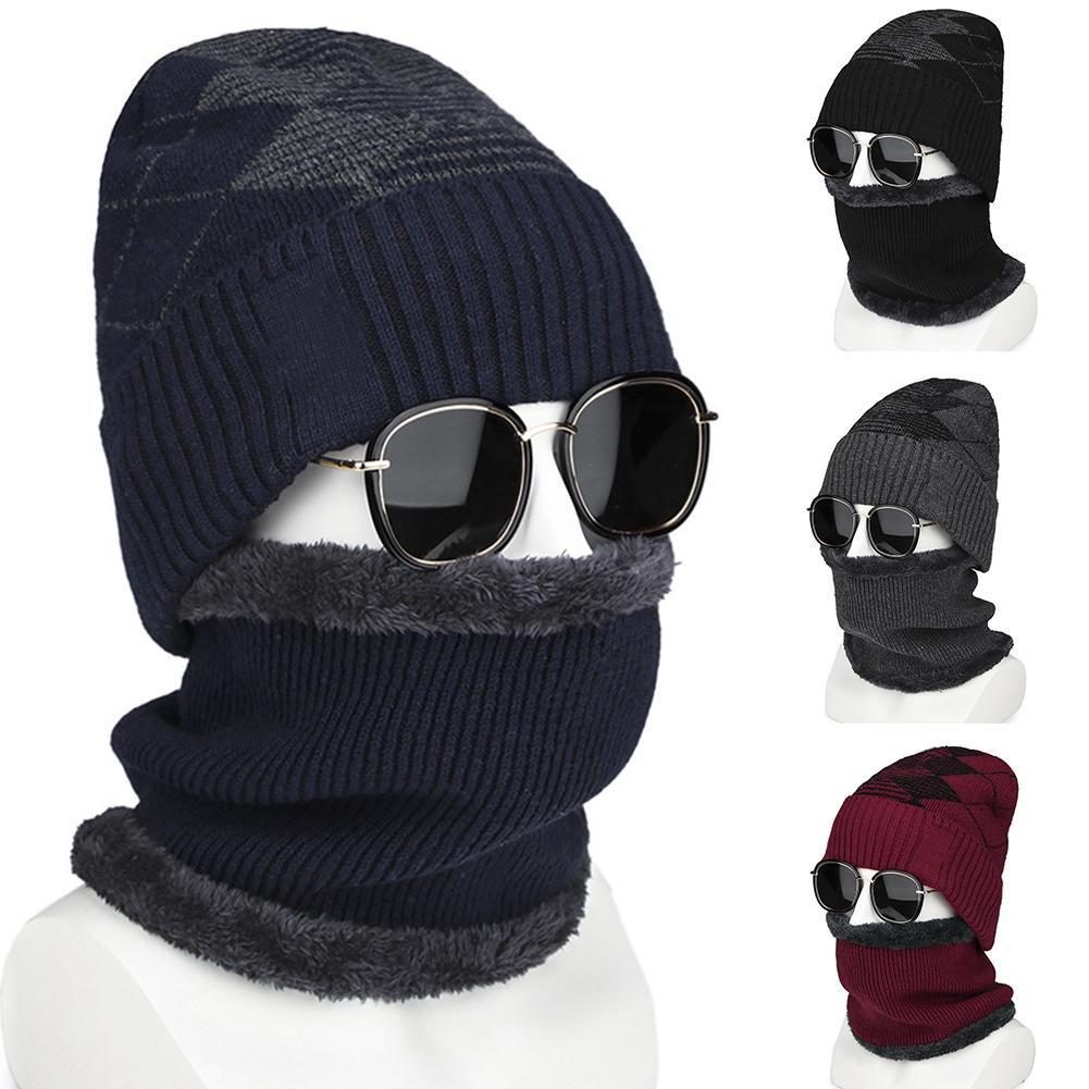 402d8120b3a8b Fashion Winter Thicken Warm Knitted Plush Men Beanie Cap Neck Wrap ...