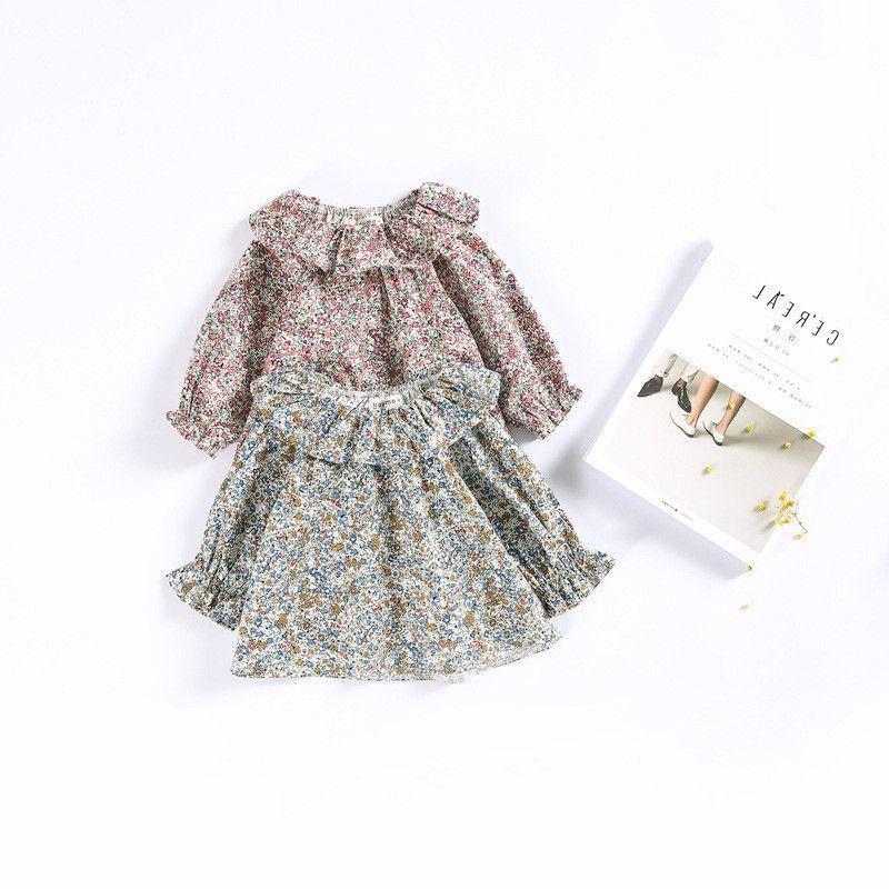 3c7f02748 2019 Niñas bebés Camisas de flores de manga larga para niños Cuello floral  Camisas lindas Algodón de época Infantiles niños Top 0-2 años