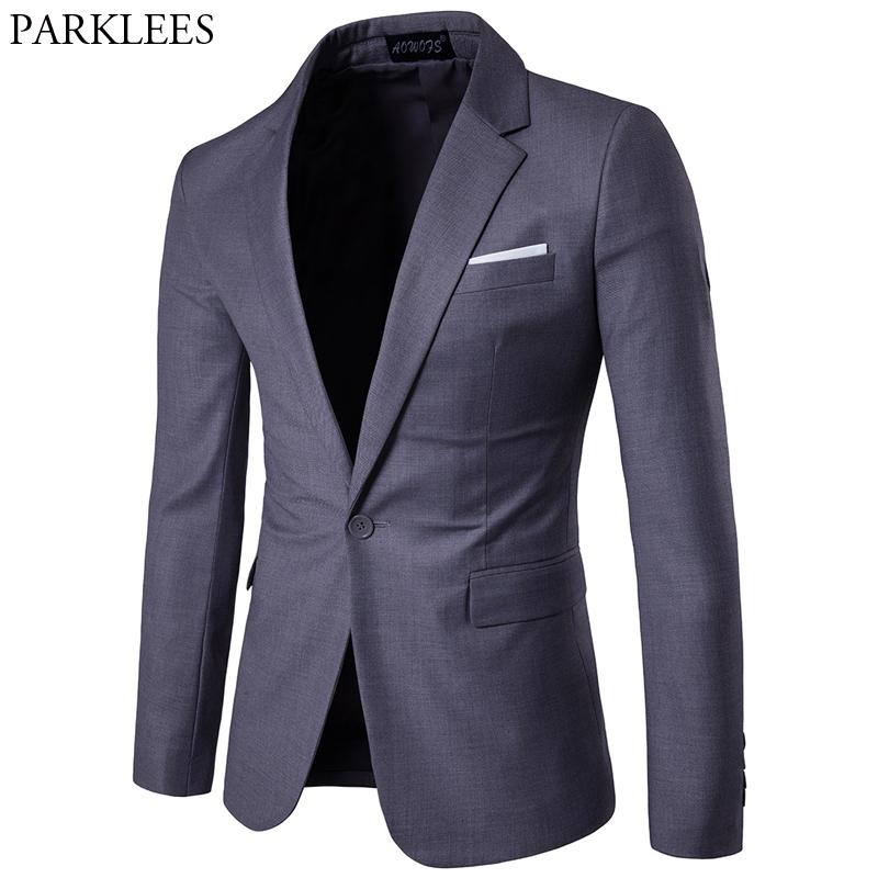 official photos b1506 77afd Gray Slim Fit One Button Suit Blazer Men 2019 Spring New Business Formal  Tuxedo Blazer Jacket Male Wedding Groom Costume Homme
