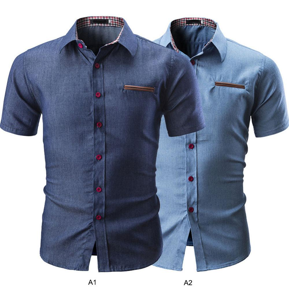 Men Casual Shirt Clothing Button Turn Down Collar Short Sleeve Shirt