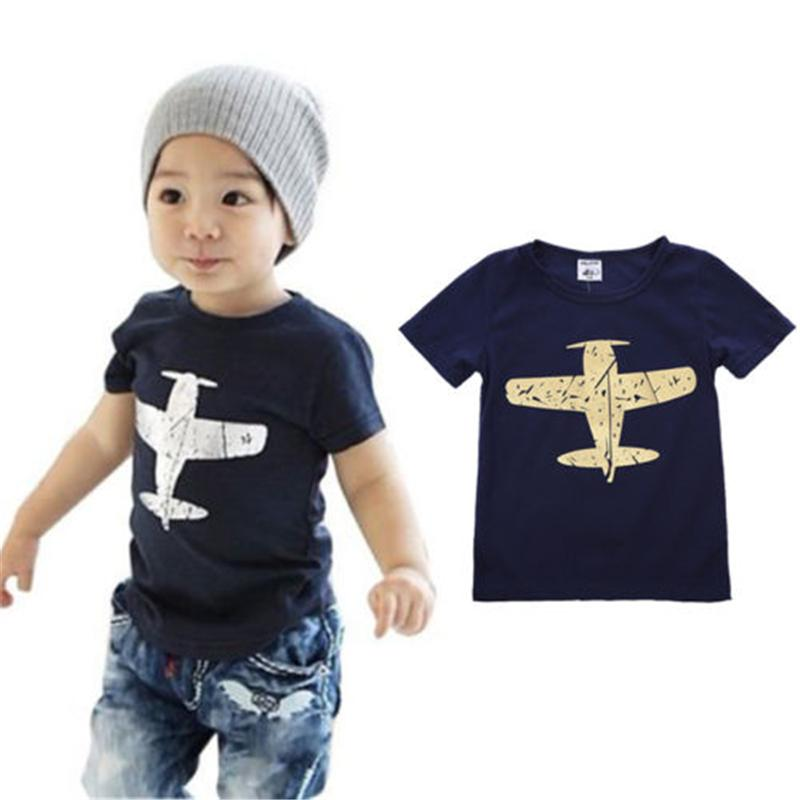 toddler baby boy summer short sleeve cotton navy blue T shirt baby boy summer clothes