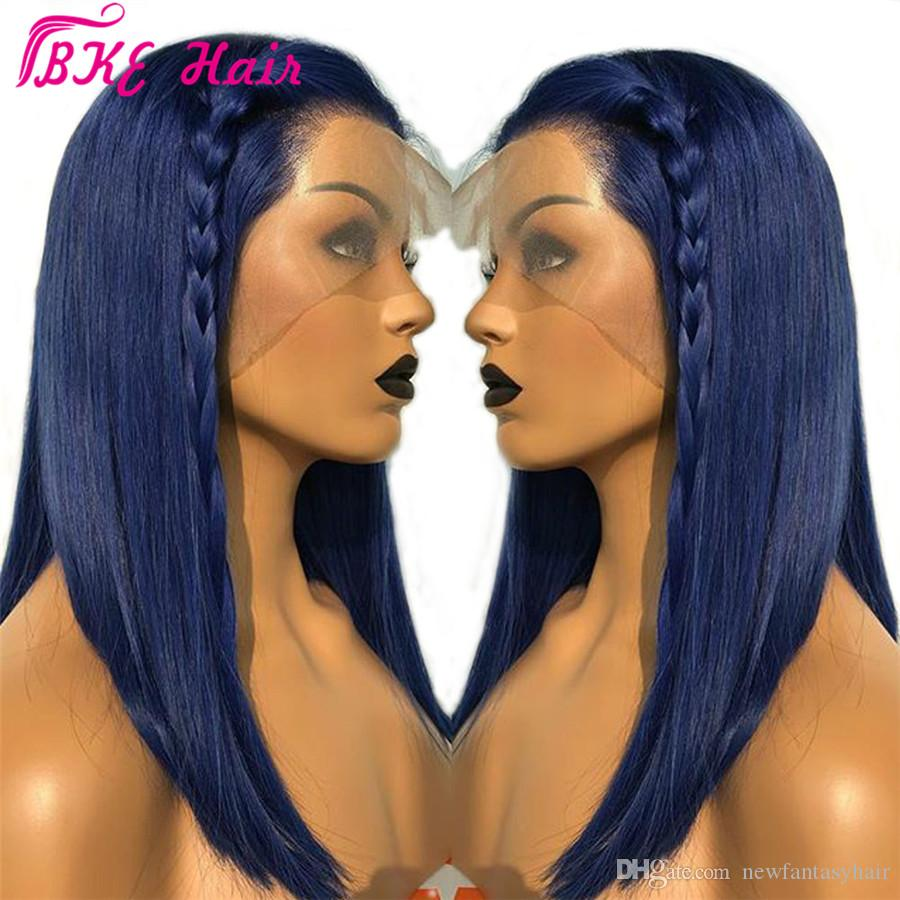 New Fashion Style Blue 13x4 Lace Front Wig Straight Synthetic Lace frontal Wigs for women cosplay party Wig
