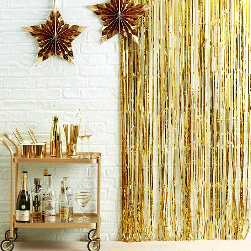 2M 3M Gold Silver Metallic Curtain Decoration Foil Curtain Props Photo Birthday Photography Tinsel Backdrop Fringe Party Wedding