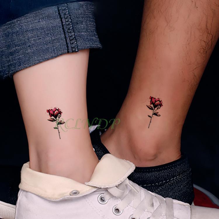 Impermeables Pegatinas De Tatuaje Temporal Hermosa Flor Rosa Falso
