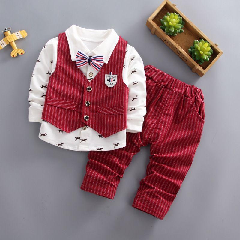 4d260856cbce good quality Hot sale baby boys clothes 2019 Autumn new formal baby boy  clothing sets 3pcs t-shirt+vest+pants children clothing suit