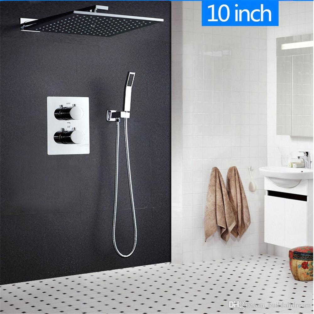 10 inch Wall Mounted Thermostatic Two-Funtion Shower Set Rainfall Water Saving Square Shower Head & Hand Shower Brass Chrome 20180927#